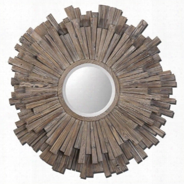 Uttermost Vermundo Mirror In Light Walnut Stained Wood