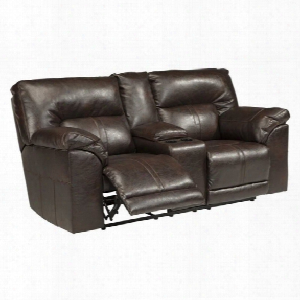 Ashley Barrettsville Leather Reclining Console Loveseat In Chocolate
