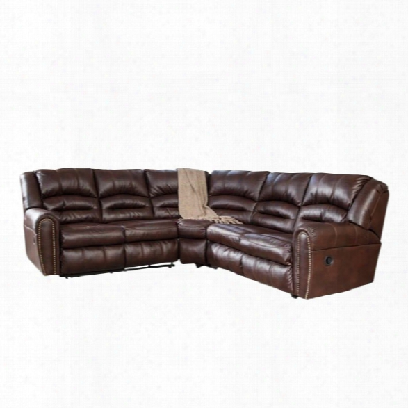 Ashley Manzanola 2 Piexe Faux Leather Reclining Sectional In Chocolate