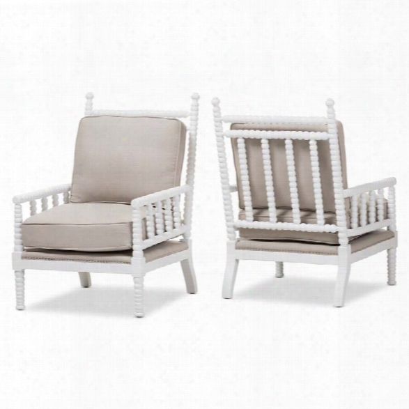 Baxton Studio Hillary Spindle Back Chair In Beige And White (set Of 2)
