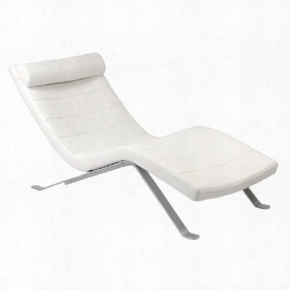 Eurostyle Gilda Lounge Chair In White With Silver Base