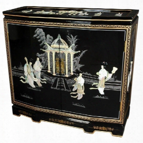 Oriental Furniture Ladies Design Slant Front Accent Chest In Black