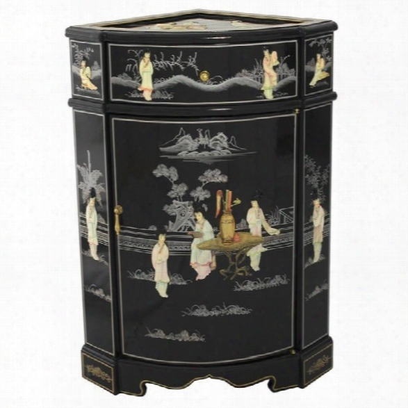 Oriental Furniture Small Corner Accent Chest In Black