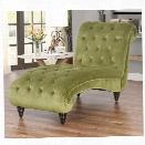 Abbyson Living Oakley Tufted Velvet Chaise in Olive