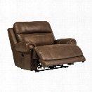 Ashley Austere Faux Leather Power Zero Wall Wide Recliner in Brown