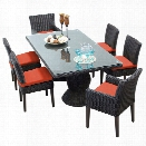 TKC Venice 7 Piece 80 Glass Top Patio Dining Set in Orange