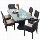 TKC Venice 7 Piece 80 Glass Top Patio Dining Set