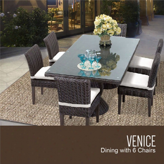 Tkc Venice 7 Piece 80 Glass Top Patio Dining Set In White