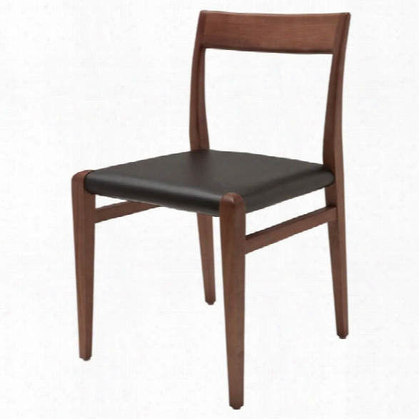 Nuevo Ameri Leather Dining Side Chair In Black And Walnut