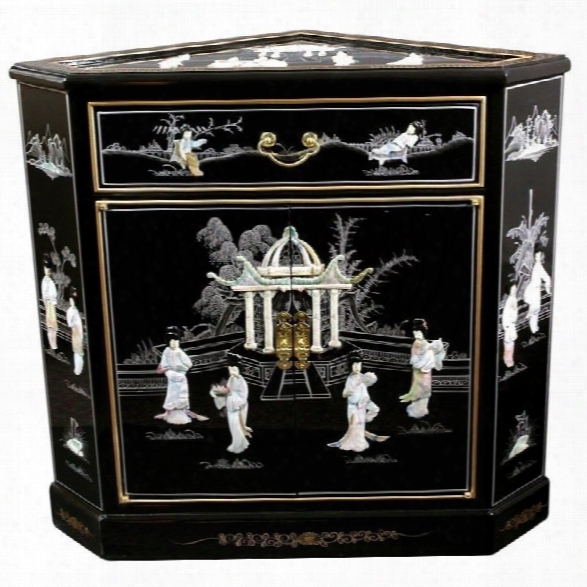 Oriental Furniture Corner Accent Chest In Black