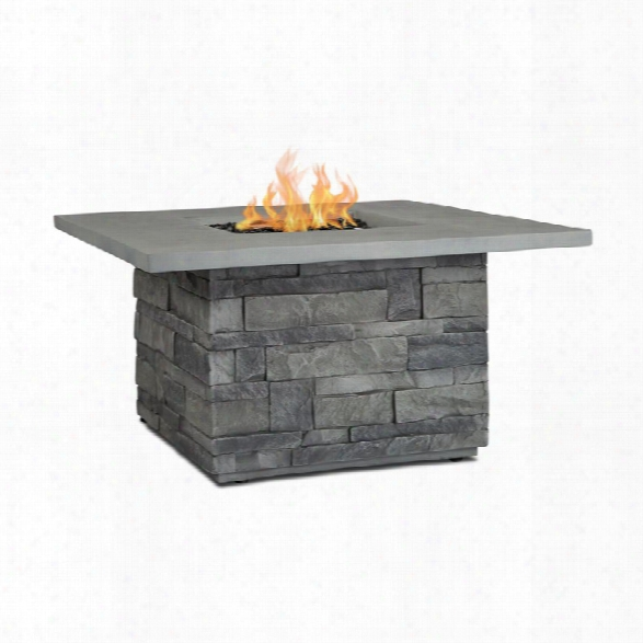 Real Flame Ledgestone Square Propane Fire Table In Gray