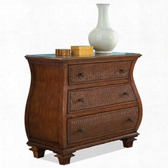 Riverside Furniture Windward Bay Bombe Accent Chest In Warm Rum