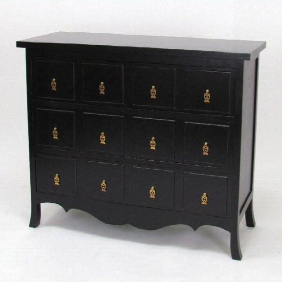 Wayborn Asian Storage 3 Drawer Accent Chest In Antique Black