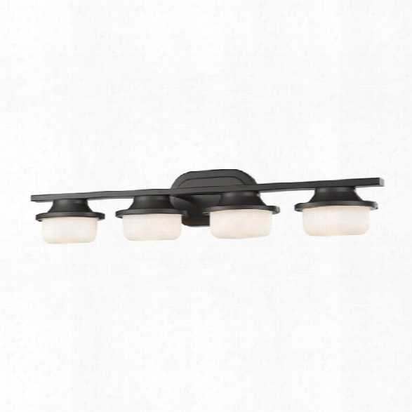 Z-lite Optum 4 Light Vanity Light In Matte Opal And Bronze