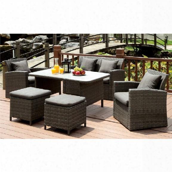 Furniture Of America Vorelli Modern 6 Piece Patio Seating Set In Gray