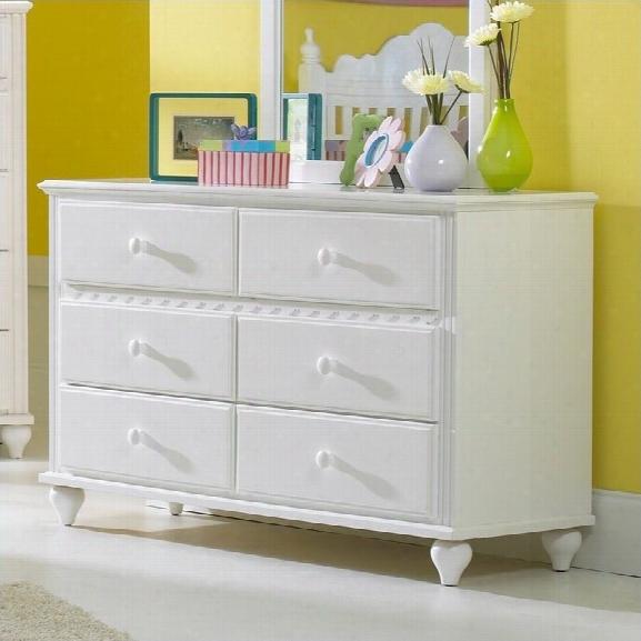 Hillsdale Lauren 6 Drawer Double Dresser In White