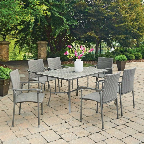 Home Styles Umbria 7 Piece Concrete Tile Patio Dining Set In Gray