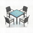 Harmonia Living District 5 Piece Square Patio Dining Set in Natural