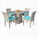 TKC Fairmont 5 Piece 40 Square Patio Dining Set in Turquoise