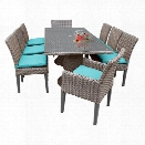 TKC Oasis 9 Piece 80 Glass Top Patio Dining Set in Turquoise