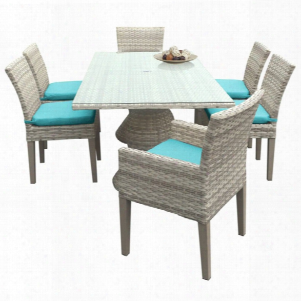 Tkc Fairmont 7 Piece 80 Glass Top Patio Dining Set In Turquoise