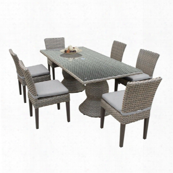 Tkc Oasis 7 Piece 80 Glass Top Patio Dining Set In Gray