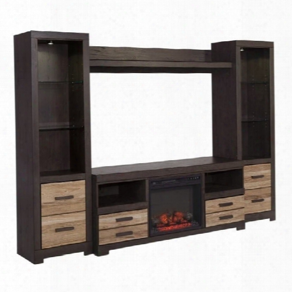 Ashley Harlinton Entertainment Center With Led Fireplace In Warm Gray