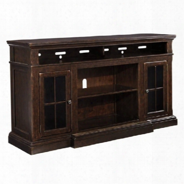 Ashley Roddinton 74 Tv Stand With Marble Inset Base In Dark Brown