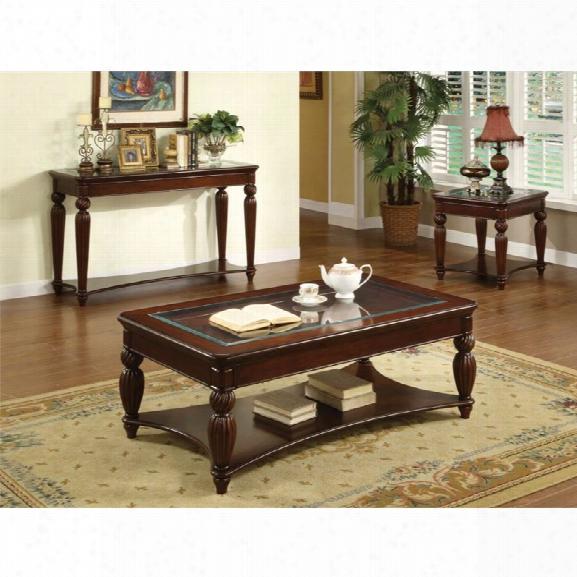 Furniture Of America Ittilic 3 Piece Table Set In Dark Cherry