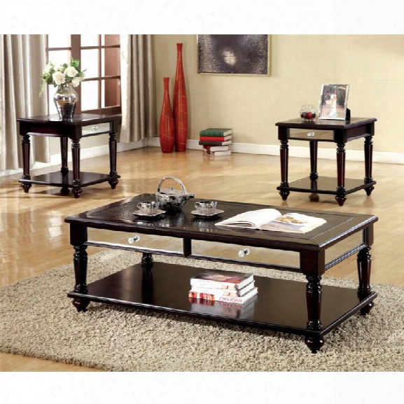 Furniture Of America Malizze 3 Piece Coffee Table Set In Black