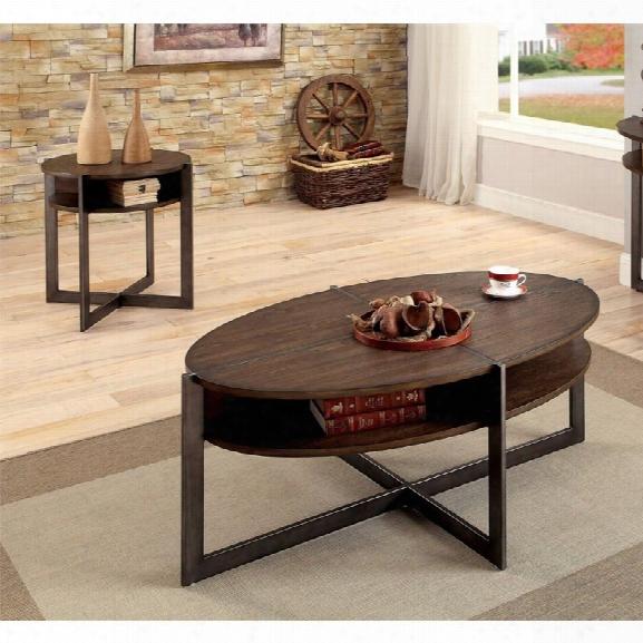 Furniture Of America Prontus 2 Piece Coffee Table Set In Dark Oak