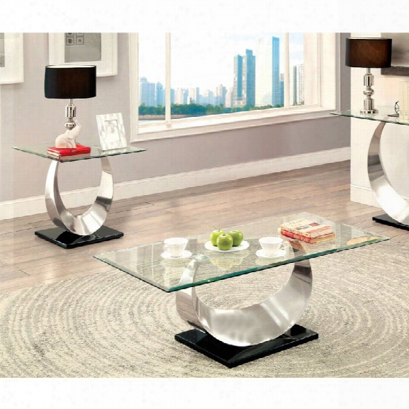 Furniture Of America Suse 2 Piece Coffee Table Set In Satin Plated