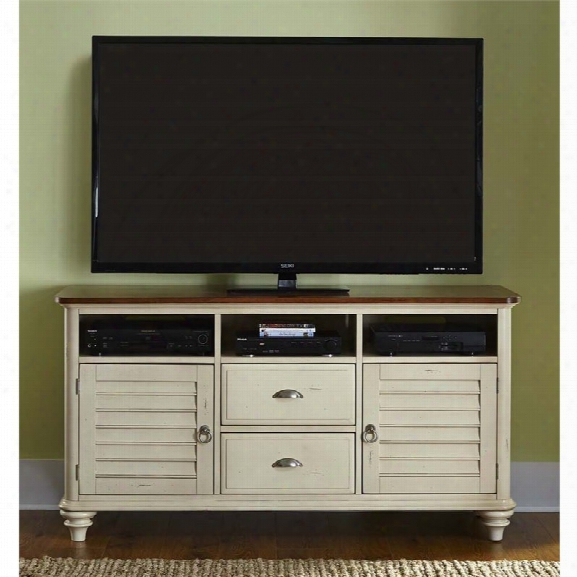 Liberty Furniture Ocean Isle Tv Stand In Bisque With Natural Pine