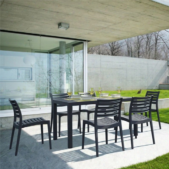 Compamia Ares 7 Piece Resin Patio Dining Set In Black
