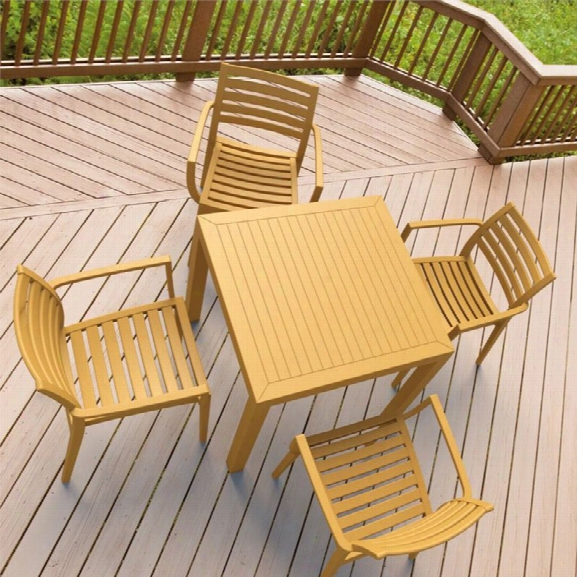 Compamia Artemis 5 Piece Square Resin Patio Dining Set In Teak Brown