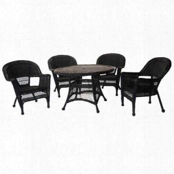 Jeco 5 Piece Wicker Patio Dining Set In Black