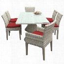 TKC Fairmont 7 Piece 80 Glass Top Patio Dining Set in Red