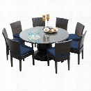 TKC Napa 9 Piece 60 Round Glass Top Patio Dining Set in Navy