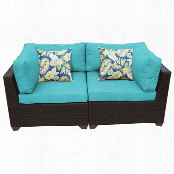 Tkc Belle Patio Wicker Loveseat In Turquoise