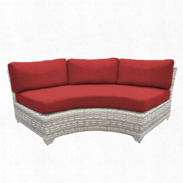 Tk Fairmont Curved Armless Patio Sofa In Red (set Of 2)