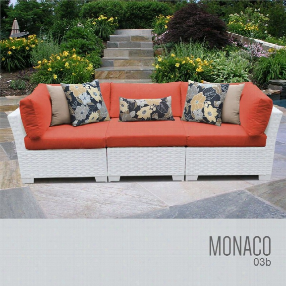 Tkc Monaco 3 Piece Patio Wicker Sofa In Orange