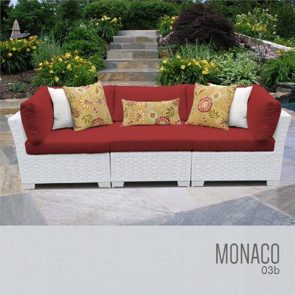 Tkc Monaco 3 Piece Patio Wicker Sofa In Red