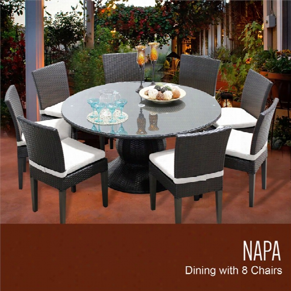Tkc Napa 9 Piece 60 Round Glass Top Patio Dining Set In White