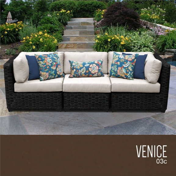 Tkc Venice 3 Piece Patio Wicker Sofa In Beige