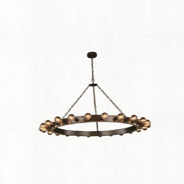Elegant Lighting Winston 55 24 Light Pendant Lamp In Aged Iron
