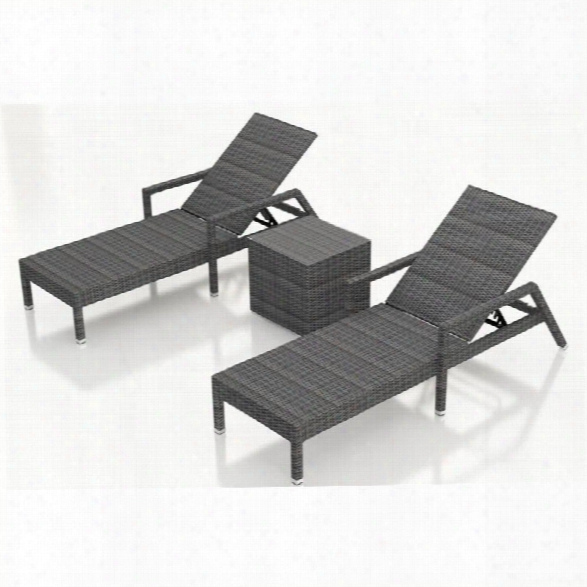 Harmonia Living District 3 Piece Patio Lounge Set In Textured Slate