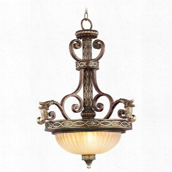 Livex Seville Inverted Pendant In Palacial Bronze With Gilded Accents