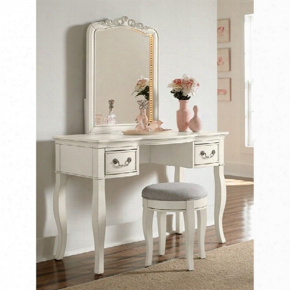 Ne Kids Kensington Vanity With Mirror And Stool In Antique White