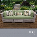 TKC Florence 3 Piece Patio Wicker Sofa in Green