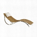 Tommy Bahama Tres Chic Patio Chaise Lounge with Head Pillow in Natural Teak